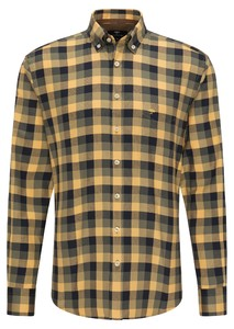 Fynch-Hatton Flanel Grote Ruit Overhemd Mosterd