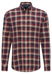 Fynch-Hatton Flanel Grote Ruit Overhemd Rood