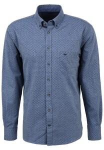 Fynch-Hatton Graphic Flanel Overhemd Blauw