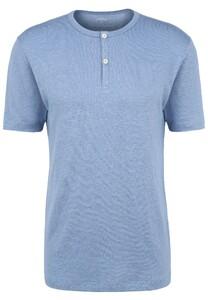 Fynch-Hatton Henley Shirt Linnen T-Shirt Pacific