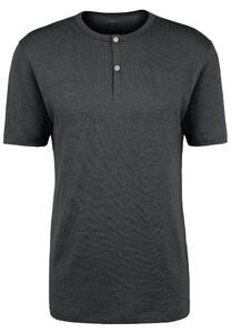 Fynch-Hatton Henley Shirt Linnen T-Shirt Zwart