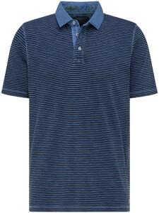 Fynch-Hatton Jersey Garment Dyed Fine Stripe Polo Navy