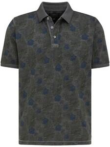 Fynch-Hatton Jersey Garment Dyed Leaf Pattern Polo Asphalt