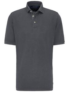 Fynch-Hatton Katoen Linnen Blend Garment Dyed Polo Asphalt