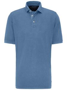 Fynch-Hatton Katoen Linnen Blend Garment Dyed Polo Pacific