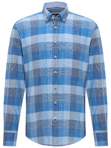 Fynch-Hatton Large Structure Check Shirt Navy-Blue