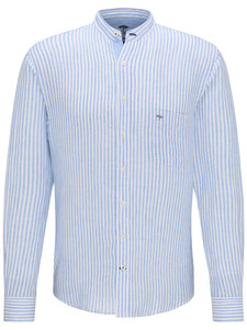 Fynch-Hatton Linnen Classics Stripe Overhemd Blauw-Wit