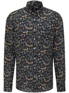 Fynch-Hatton Linnen Flowers Button Down Overhemd Sunlight