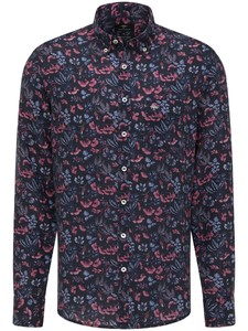 Fynch-Hatton Linnen Flowers Button Down Overhemd Thistle