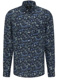 Fynch-Hatton Linnen Flowers Button Down Overhemd Ultramarin