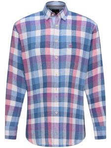 Fynch-Hatton Linnen Katoen Check Overhemd Blossom-Blue