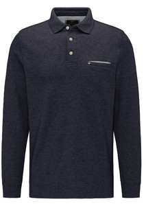 Fynch-Hatton Longsleeve Doubleface Polo Navy