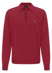 Fynch-Hatton Meirno Polo Collar Button Trui Scarlet