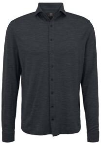 Fynch-Hatton Melange Merino Jersey Overhemd Anthra