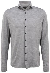 Fynch-Hatton Melange Merino Jersey Overhemd Steel