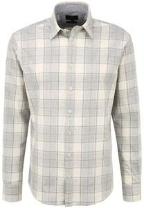 Fynch-Hatton Melange Soft Flannel Check Kent Shirt Silver