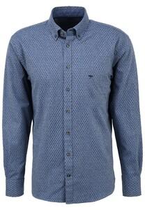 Fynch-Hatton Modern Graphic Pattern Flanel Overhemd Blauw