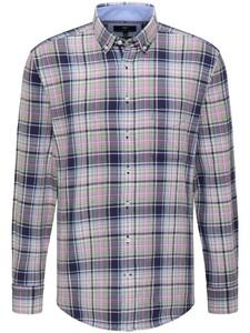 Fynch-Hatton Modern Oxford Check Button Down Overhemd Navy