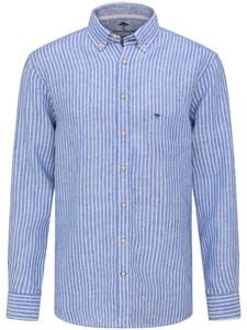 Fynch-Hatton Modern Soft Linnen Fine Stripe Overhemd Blauw