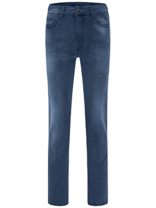 Fynch-Hatton Mombasa High Flex Denim Jeans Midden Blauw