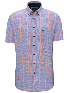 Fynch-Hatton Multi Check Button Down Overhemd Watermelon-Caribbean
