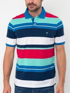 Fynch-Hatton Multi Stripe Polo Midnight-White-Fruit Pink