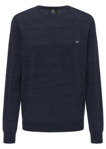 Fynch-Hatton O-Neck Checked Structure Merino Trui Navy