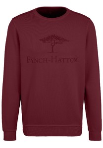 Fynch-Hatton O-Neck Chest Logo CmiA Cotton made in Africa Trui Merlot