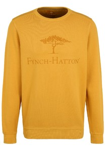 Fynch-Hatton O-Neck Chest Logo CmiA Cotton made in Africa Trui Mosterd