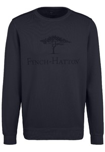 Fynch-Hatton O-Neck Chest Logo CmiA Cotton made in Africa Trui Navy