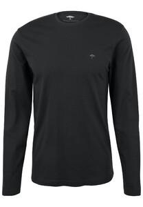 Fynch-Hatton O-Neck Cotton Longsleeve T-Shirt Zwart