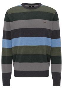 Fynch-Hatton O-Neck Multicolored Stripe Trui Anthra-Ashgrey-Emerald