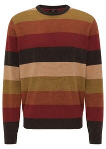 Fynch-Hatton O-Neck Multicolored Stripe Trui Arabica-Toscana-Terracotta