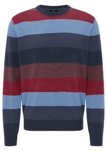Fynch-Hatton O-Neck Multicolored Stripe Trui Navy-Night-Wave
