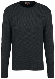 Fynch-Hatton O-Neck Structure Mix Trui Charcoal