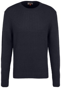 Fynch-Hatton O-Neck Structure Mix Trui Navy