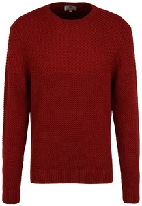Fynch-Hatton O-Neck Structure Mix Trui Scarlet