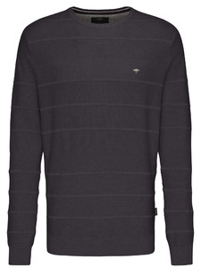 Fynch-Hatton O-Neck Structure Trui Charcoal