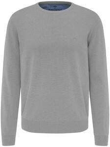 Fynch-Hatton O-Neck Uni Cotton Trui Silver