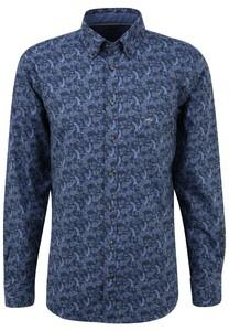 Fynch-Hatton Paisley Flanel Button Down Overhemd Blauw