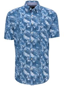 Fynch-Hatton Palm Leaf Button Down Overhemd Blauw