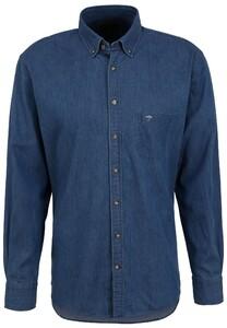 Fynch-Hatton Premium Denim Button Down Overhemd Blauw