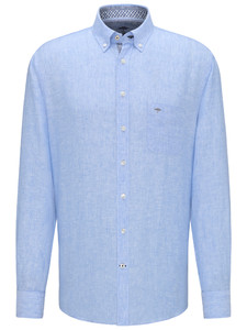 Fynch-Hatton Premium Linnen Button Down Overhemd Blauw