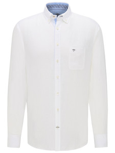 Fynch-Hatton Premium Linnen Button Down Overhemd Wit