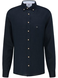 Fynch-Hatton Premium Modern Soft Linnen Overhemd Dark Navy