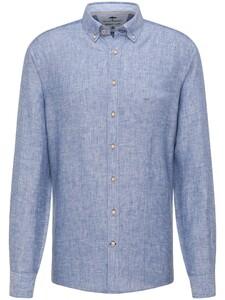 Fynch-Hatton Premium Modern Soft Linnen Overhemd Navy