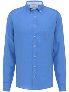 Fynch-Hatton Premium Modern Soft Linnen Overhemd Ultramarin