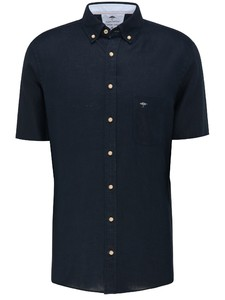 Fynch-Hatton Premium Soft Linen Short Sleeve Shirt Dark Navy