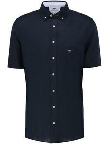 Fynch-Hatton Premium Soft Linnen Short Sleeve Overhemd Dark Navy