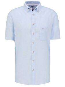 Fynch-Hatton Premium Soft Linnen Short Sleeve Overhemd Licht Blauw